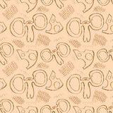 Seamless vector pattern. Cute beige background with hand drawn mouses and cheese. Royalty Free Stock Photography