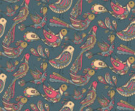 Seamless vector pattern with cute birds Royalty Free Stock Photo