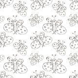 Seamless vector pattern. Cute black and white background with hand drawn butterflies Royalty Free Stock Photo