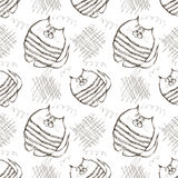 Seamless vector pattern. Cute black and white background with hand drawn cats and scribbles. Stock Image