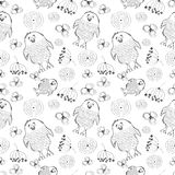 Seamless vector pattern. Cute black and white background with hand drawn chickens and flowers. Stock Photography