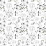 Seamless vector pattern. Cute black and white background with hand drawn ladybugs, butterfly, caterpillars and flowers. Stock Image