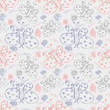 Seamless vector pattern. Cute blue and red background with hand drawn butterflies and scribbles Stock Photo