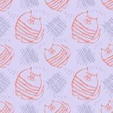 Seamless vector pattern. Cute blue and red background with hand drawn cats and scribbles. Royalty Free Stock Photography