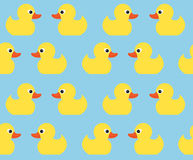 Seamless vector pattern with cute bright yellow ducks.  Royalty Free Stock Photography