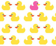 Seamless vector pattern with cute bright yellow ducks. Stock Images
