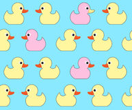 Seamless vector pattern with cute bright yellow ducks. Duck toy Royalty Free Stock Image
