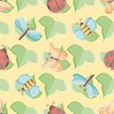 Seamless vector pattern of cute bugs over leaves vector illustration