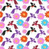 Seamless vector pattern with cute cartoon birds and flowers Stock Photos