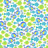 Seamless vector  pattern with cute cartoon fish Stock Image