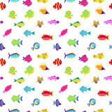 Seamless vector  pattern with cute cartoon fish Royalty Free Stock Image