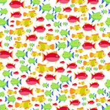 Seamless vector  pattern with cute cartoon fish Royalty Free Stock Images