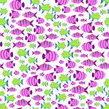 Seamless vector pattern with cute cartoon fish in pink and green Stock Photos