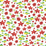 Seamless vector  pattern with cute cartoon fish and stars in red Stock Photography