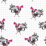 Seamless vector pattern with cute cartoon roosters. Year of the rooster. Royalty Free Stock Image