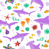 Seamless vector  pattern with cute cartoon sharks and fishes Royalty Free Stock Photos
