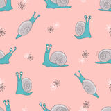 Seamless vector pattern with cute cartoon snails on pink stock illustration