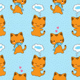Seamless vector pattern with cute cats. And fishes Royalty Free Stock Photography