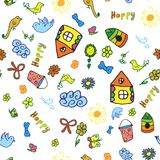 Seamless vector pattern with cute childish hand drawn house, sun, cloud, flowers, birds. Royalty Free Stock Photography