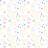 Seamless vector pattern. Cute colorful background with hand drawn chickens and flowers. Stock Photography