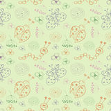 Seamless vector pattern. Cute colorful background with hand drawn ladybugs, butterfly, caterpillars and flowers Royalty Free Stock Photography