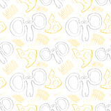 Seamless vector pattern. Cute colorful background with hand drawn mouses and cheese. Royalty Free Stock Image