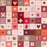 Seamless vector pattern, cute decorative geometrical hand drawn with childlike elements, dots, square, circle, cross, rectangle,