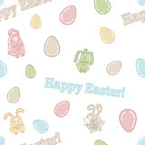 Seamless vector pattern with cute easter eggs, bunnies and words HAPPY EASTER! Stock Photos