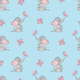 Seamless vector pattern with cute elephants and butterflies Stock Images