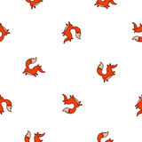 Seamless vector pattern of cute fire fox Stock Photography