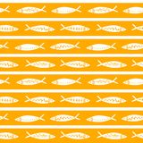 Seamless vector pattern with cute fishes. Striped pattern. For pattern fills, wallpaper, print for clothes, wrapping stock illustration