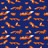 Seamless vector pattern with cute foxes Royalty Free Stock Photography