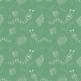 Seamless vector pattern. Cute green background with hand drawn caterpillers and scribbles. Royalty Free Stock Image