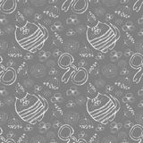 Seamless vector pattern. Cute grey background with hand drawn cats, mouses and flowers. Royalty Free Stock Photo