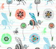 Seamless vector pattern with cute hand drawn bee and flowers. vector illustration