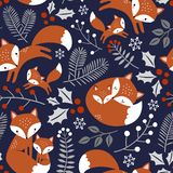 Seamless vector pattern with cute hand drawn fox family and leaves. vector illustration