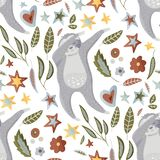 Seamless pattern with sloths in flat style. vector illustration