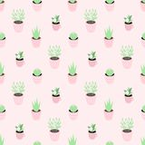 Seamless vector pattern with cute potted plants on the pink background. Perfect for wrapping paper, backgrounds, etc vector illustration