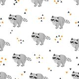 Seamless vector pattern with cute raccoons. Seamless vector pattern with cute cartoon raccoons Royalty Free Stock Photos