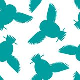Seamless vector pattern with turquoise cyan teal owls. Royalty Free Stock Photos