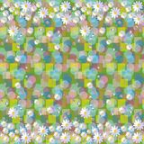 Seamless vector pattern with daisies and dewdrops on abstract background. Beautiful floral border Royalty Free Stock Photos