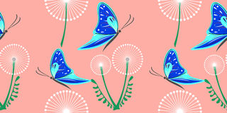 Seamless vector pattern with dandelions, butterflies. Graphic drawn illustration. Floral decorative Background with cute insect. T Royalty Free Stock Image