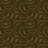 Seamless vector pattern, dark brown background with closeup coffee beans Royalty Free Stock Photo