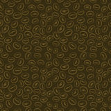 Seamless vector pattern, dark brown background with coffee beans Stock Photo
