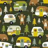 Vintage vector camping cars, bears and woods. vector illustration