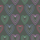 Seamless vector pattern, dark symmetrical background with hearts Stock Image