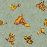 Seamless vector pattern of dchanterelle mushrooms Royalty Free Stock Photography