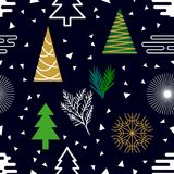 Festive Christmas background. Seamless vector pattern with decorated fir trees, snowflakes and abstract geometric elements. Minimalism design for packaging Royalty Free Stock Images