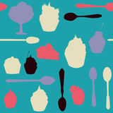 Seamless vector pattern with desserts Royalty Free Stock Image