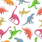 Seamless vector pattern of different dinosaurs Stock Images